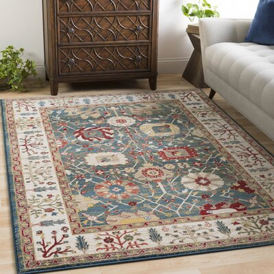 Arbouet Floral Navy/Olive Area Rug Rug Size: Rectangle 51 x 74