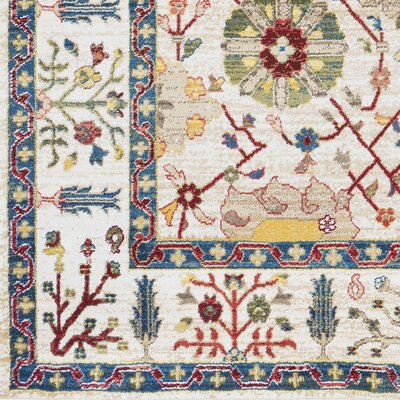 Arbouet Floral Cream/Red Area Rug Rug Size: Rectangle 710 x 910