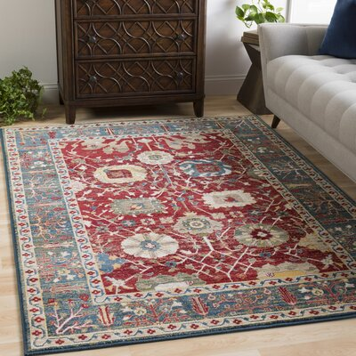 Arbouet Traditional Floral Rectangle Cream/Red Area Rug Rug Size: Rectangle 51 x 74