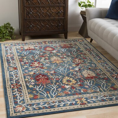 Arbouet Traditional Floral Navy/Khaki Area Rug Rug Size: Rectangle 9 x 123