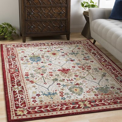 Arbouet Traditional Floral Dark Red/Cream Orange Area Rug Rug Size: Rectangle 9 x 123
