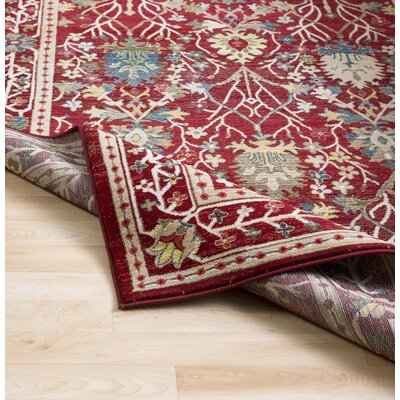 Arbouet Traditional Floral Rectangle Dark Red/Cream Area Rug Rug Size: Rectangle 51 x 74