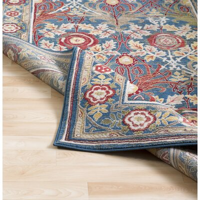 Arbouet Traditional Floral Rectangle Navy/Cream Area Rug Rug Size: Runner 26 x 71