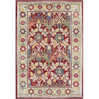 Arbouet Floral Cream/Red Oriental Area Rug Rug Size: Rectangle 9 x 123