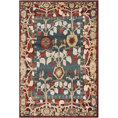 Arbouet Floral Red/Blue Area Rug Rug Size: Rectangle 51 x 74