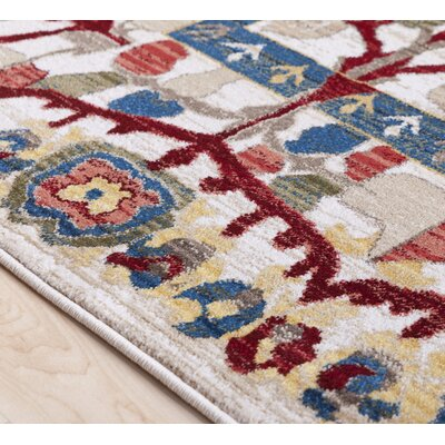 Arbouet Floral Rectangle Cream/Red Area Rug Rug Size: Rectangle 51 x 74