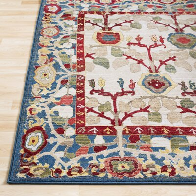 Arbouet Floral Rectangle Navy/Cream Area Rug Rug Size: Rectangle 51 x 74