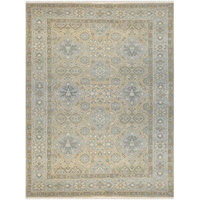 Emory Floral Hand Knotted Wool Beige/Light Gray Area Rug Rug Size: 6 x 9