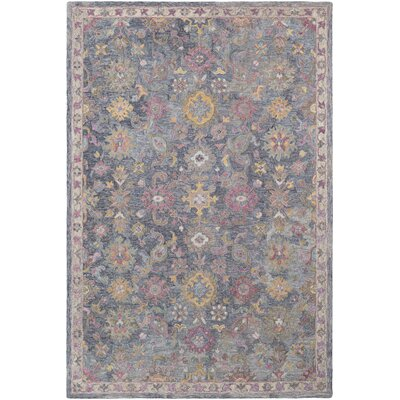Kendall Green Hand Hooked Wool Charcoal/Khaki/Purple Area Rug Rug Size: Rectangle 5 x 76
