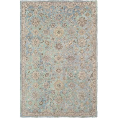 Kendall Green Hand Hooked Wool Green/Khaki Area Rug Rug Size: Rectangle 5 x 76