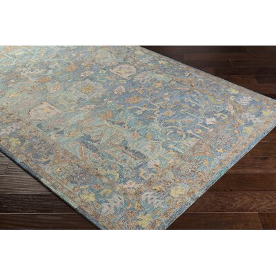 Kendall Green Vintage Floral Hand Hooked Wool Aqua/Gray Area Rug Rug Size: Rectangle 8 x 10