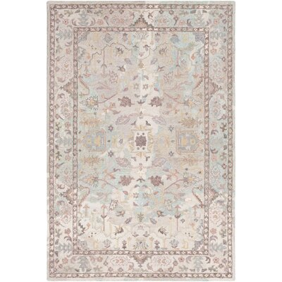 Kendall Green Hand Hooked Wool Khaki/Cream Area Rug Rug Size: Rectangle 2 x 3