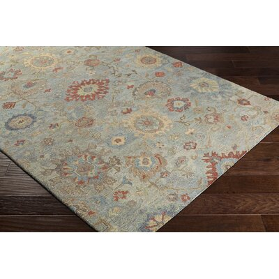 Kendall Green Hand Hooked Wool Teal/Khaki Area Rug Rug Size: Rectangle 2 x 3