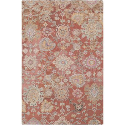Kendall Green Vintage Floral Hand Hooked Wool Camel/Tan Area Rug Rug Size: Rectangle 5 x 76