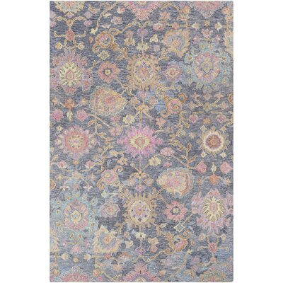 Kendall Green Floral Hand Hooked Wool Black/Charcoal Area Rug Rug Size: Rectangle 2 x 3