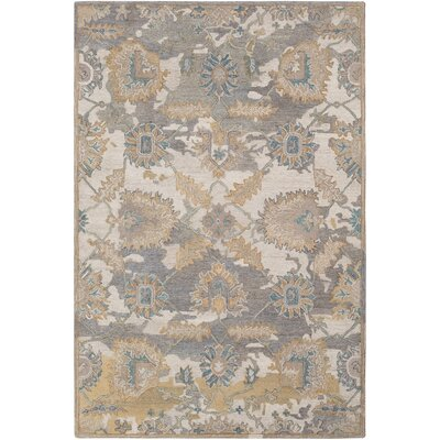 Kendall Green Floral Hand Hooked Wool Cream/Medium Gray Area Rug Rug Size: Rectangle 5 x 76