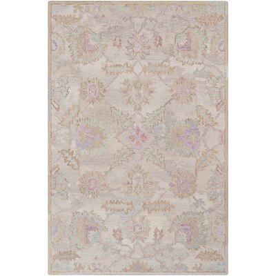 Kendall Green Floral Hand Hooked Wool Khaki/Taupe Area Rug Rug Size: Rectangle 5 x 76