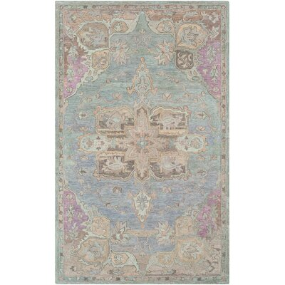 Kendall Green Floral Hand Hooked Wool Aqua/Taupe Area Rug Rug Size: Rectangle 5 x 76