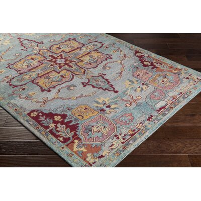 Kendall Green Floral Hand Hooked Wool Emerald/Cream Area Rug Rug Size: Rectangle 5 x 76