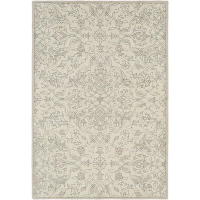Argent Floral Hand Hooked Wool Beige Area Rug Rug Size: Rectangle 6 x 9