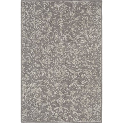 Argent Floral Hand Hooked Wool Gray Area Rug Rug Size: Rectangle 6 x 9