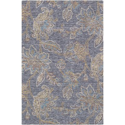 Arata Floral-Hand Tufted Wool Blue Area Rug Rug Size: Rectangle 5 x 76