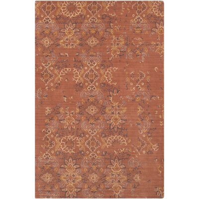 Cocoa Distressed Floral Hand-Tufted Wool Burnt Orange/Navy Area Rug Rug Size: Rectangle 8 x 10