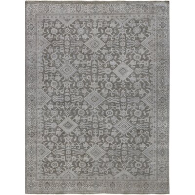 River House Hand Knotted Wool Gray Area Rug Rug Size: 6 x 9