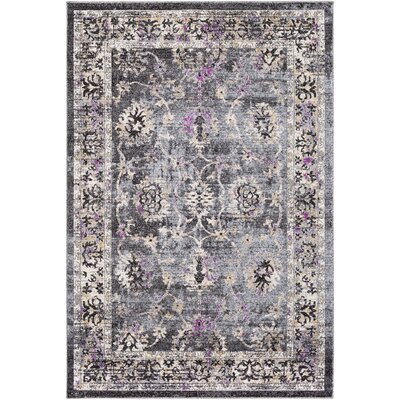 Chamberlain Medium Gray/Black Area Rug Rug Size: Rectangle 53 x 76