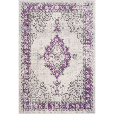 Chamberlain Bright Purple/Cream Area Rug Rug Size: Rectangle 53 x 76