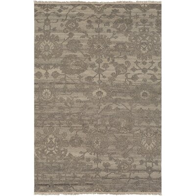 Griffen Hand Knotted Wool Khaki/Camel Area Rug Rug Size: 9 x 13