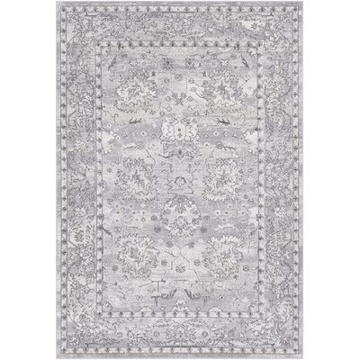 Riverbend Traditional Floral Gray/White Area Rug Rug Size: Rectangle 2' x 3'