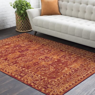 Riverbend Floral Red Area Rug Rug Size: Rectangle 53 x 76