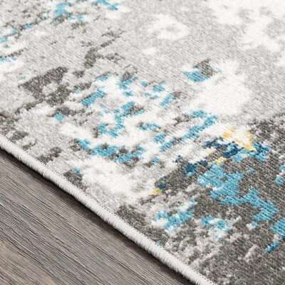 Azurine Distressed Abstract Teal/Gray Area Rug Rug Size: Rectangle 710 x 103