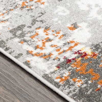Azurine Distressed Abstract Orange/Gray Area Rug Rug Size: Rectangle 53 x 76