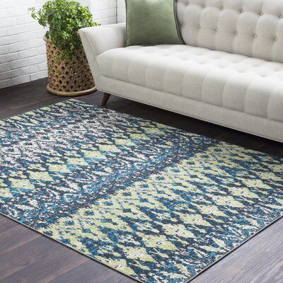 Pulido Lime/Teal Area Rug Rug Size: Rectangle 53 x 76