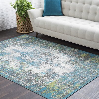 Sharpes Distressed Teal/Gray Area Rug Rug Size: Rectangle 53 x 76