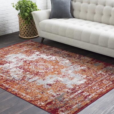 Sharpes Burnt Orange/Red/Medium Gray Area Rug Rug Size: Rectangle 53 x 76