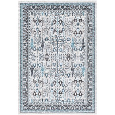 Riverbend Floral Ivory/Gray Area Rug Rug Size: Rectangle 53 x 76