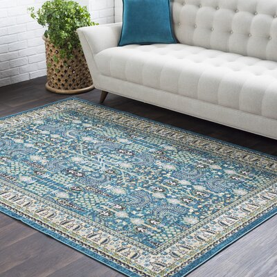 Riverbend Teal/Cream Area Rug Rug Size: Rectangle 53 x 76