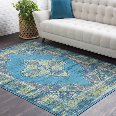 Sharpes Teal/Lime Area Rug Rug Size: Rectangle 710 x 103