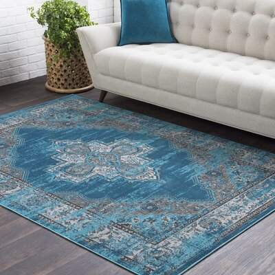 Sharpes Teal/Medium Gray Area Rug Rug Size: 2' x 3'