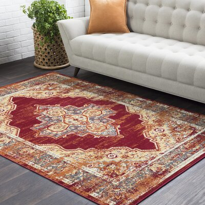 Sharpes Distressed Floral Red/Saffron Area Rug Rug Size: Rectangle 53 x 76