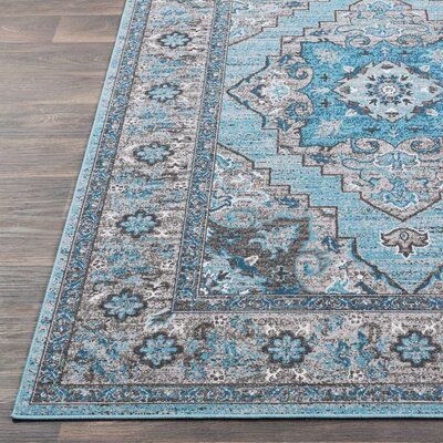 Sharpes Teal/Gray Area Rug Rug Size: Rectangle 53 x 76