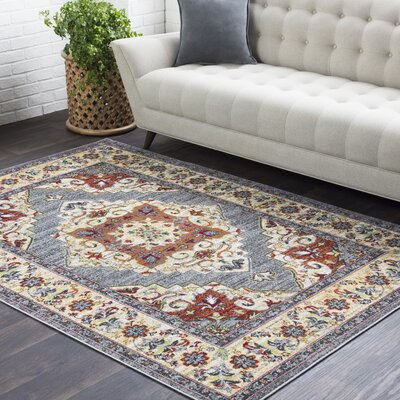 Sharpes Vintage Floral Saffron/Medium Gray Area Rug Rug Size: Rectangle 2 x 3