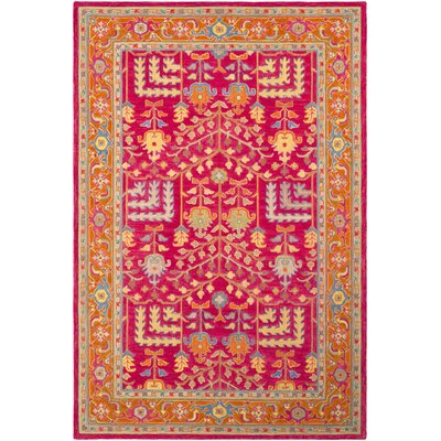 Ritner Hand Tufted Wool Pink/Red Area Rug Rug Size: Rectangle 5 x 76