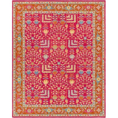 Ritner Hand Tufted Wool Pink/Red Area Rug Rug Size: Rectangle 8 x 10