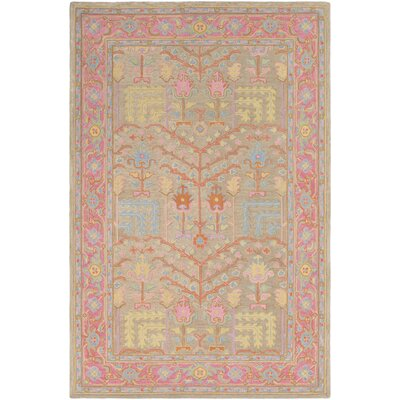 Edgerly Hand Tufted Wool Tan/Bright Pink Area Rug Rug Size: Rectangle 5 x 76