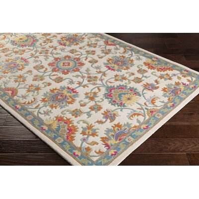 Edgerly Hand Tufted Wool Burnt Orange/Cream/Aqua Area Rug Rug Size: Rectangle 5 x 76