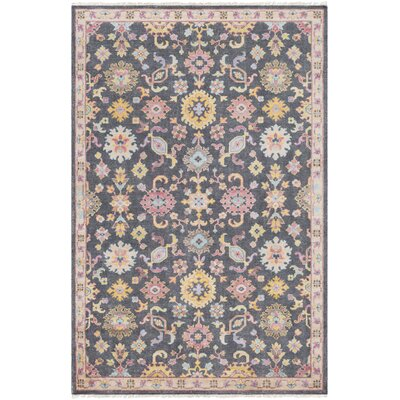 Casco Traditional Floral Hand Knotted Charcoal/Beige Area Rug Rug Size: Rectangle 2 x 3